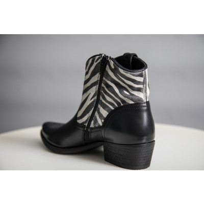 Felmini Black Zebra Leather Cowboy Boots available on colmershill.com