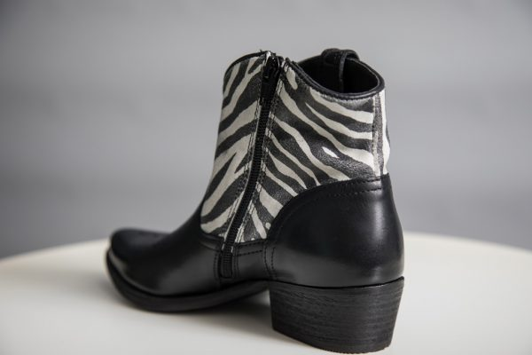 Felmini Black Zebra Leather Cowboy Boots available on colmershill.com