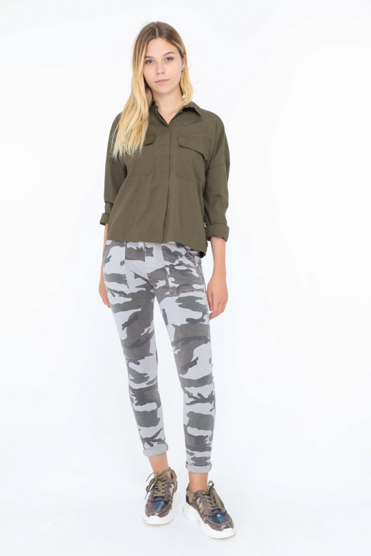Melly & Co Camouflage Jean Joggers in grey available on colmershill.com