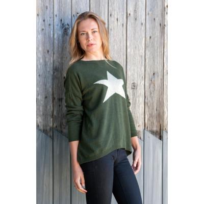 Luella Khaki/Cream Cashmere Star Jumper available on colmershill.com