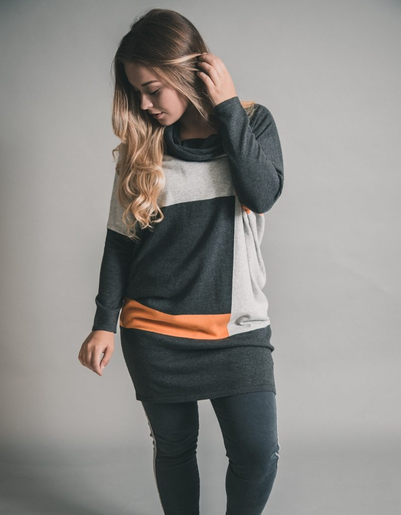 Marble new collection must have - Knitted Jumper Dress in Charcoal and Mango available on colmershill.com
