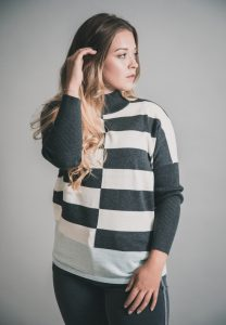 New Collection Marble Turtleneck Sweater Grey & Pale Blue