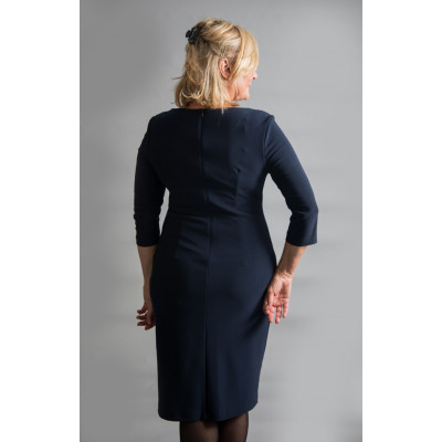 Joseph Ribkoff Mightnight Blue Fitted Dress Beaded Split available on colmershill.com