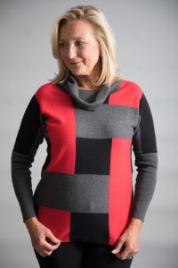 Marble Must have - Roll-Neck Colour Block Sweater Red & Black available on colmershill.com