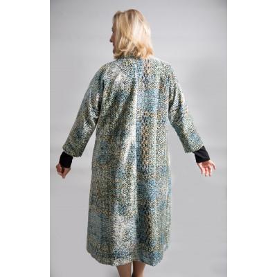 Yavi Silk Velvet Coat Aqua Spot print available on colmershill.com