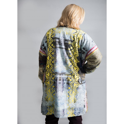 Yavi_RAGA wool lined cotton printed coat yellow available on colmershill.com
