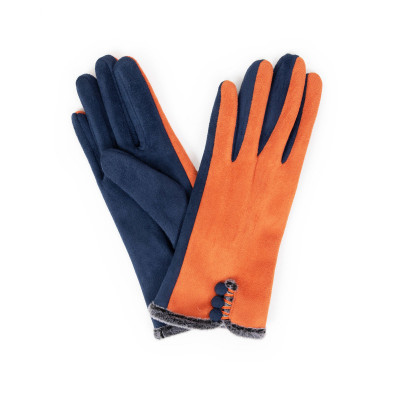 Powder Amanda Faux Suede Gloves Tangerine & Navy available on colmershill.com