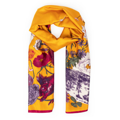 Powder Forest Friends Satin Scarf Mustard available on colmershill.com