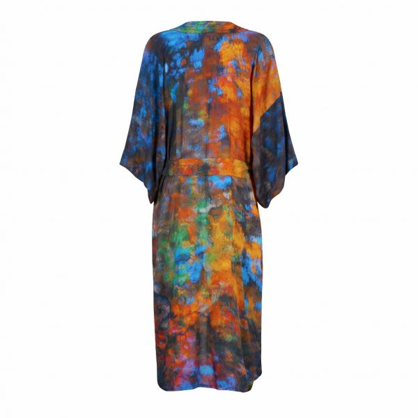 Relaxed Long Gown From new wearable art label, From My Mothers Garden. Long Robe in an exclusive almost Monet-esque print called Beech Tree Reflections available on colmershill.com