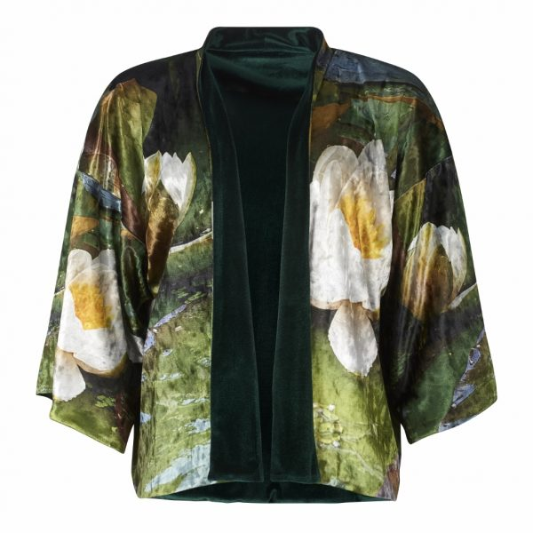 From new wearable art clothing label, From My Mother's Garden, a reversible velvet kimono in a beautifully floral waterlily print. Available on colmershill.com