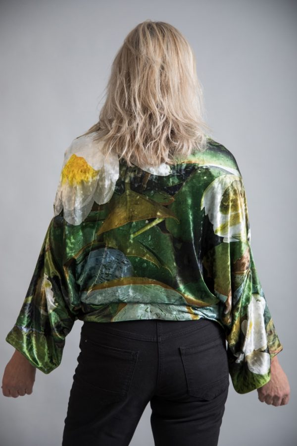 Velvet Reversible Kimono from new wearable art clothing label, From My Mother's Garden, a reversible velvet kimono in a beautifully floral waterlily print. Available on colmershill.com