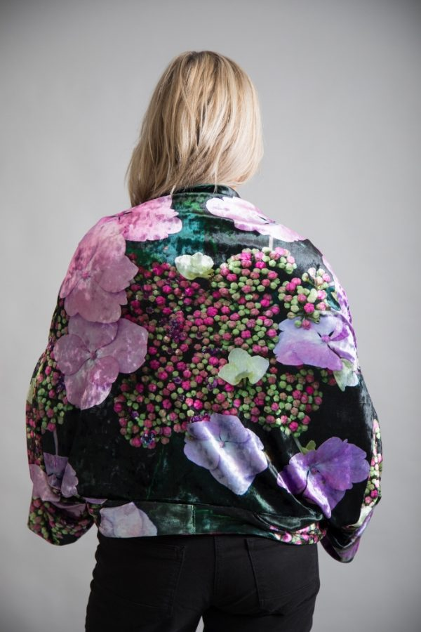 Velvet Reversible Kimono From new wearable art label, From My Mother's Garden, a stunning reversible floral kimono in a sumptuous hydrangea print. Available on colmershill.com.