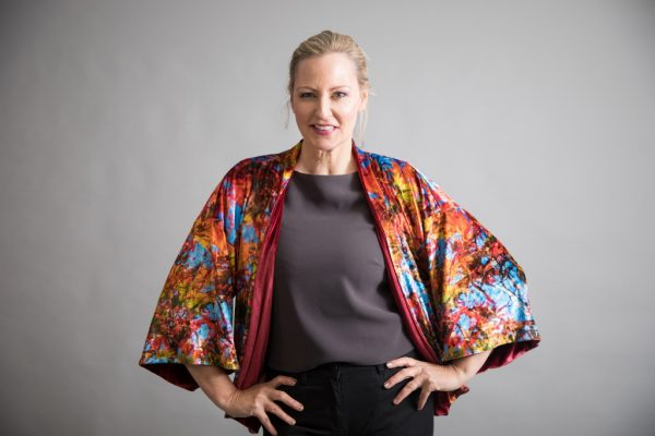 From new wearable art fashion label, From My Mother's Garden, a gorgeous luxury velvet reversible kimono jacket in an exclusive Blue Skies Acer print. Available from colmershill.com