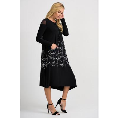 Joseph Ribkoff Black Asymmetric Dress 201285 available on colmershill.com