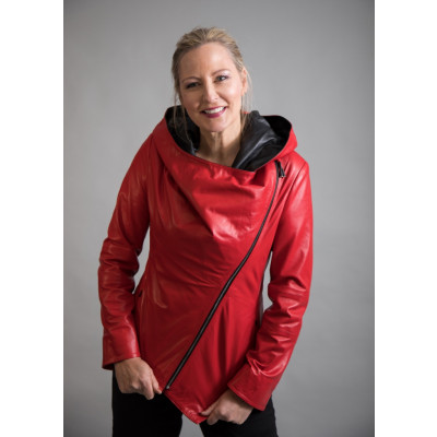 Red leather jacket from new clothing label From My Mother's Garden designed by Elif Kose and available on colmershill.com