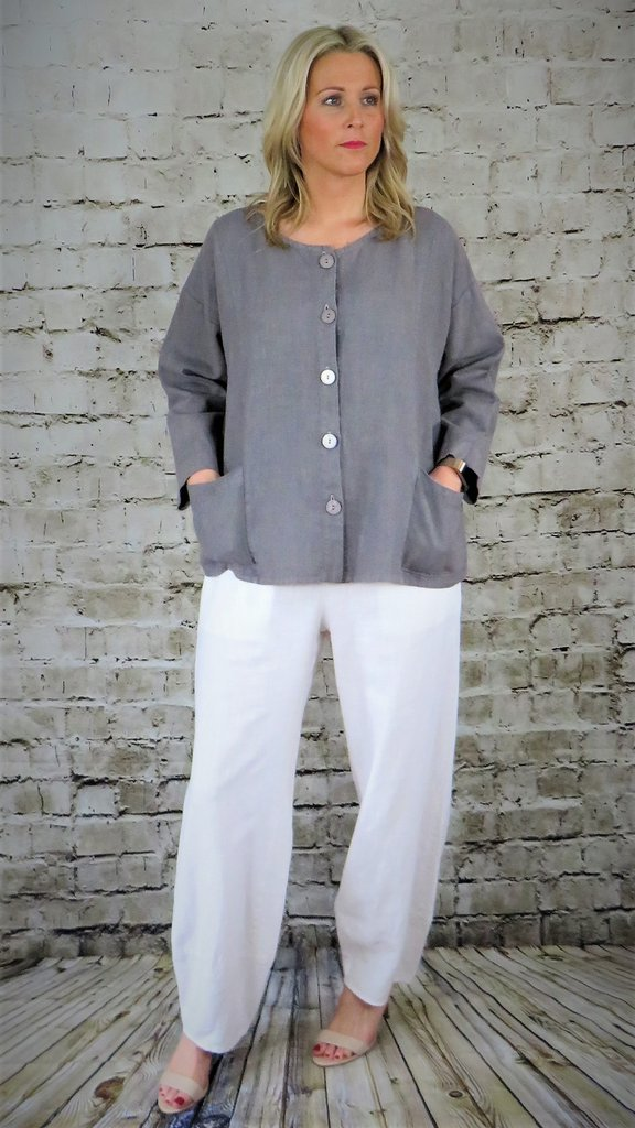 Out of Xile White Linen Trousers 10SS20 available from colmershill.com