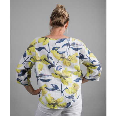 Vetono Floral Print Linen Wide Top Lemon Yellow available on colmershill.com