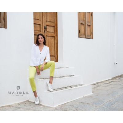 Marble Cropped Stretch Jeans Lime 2401 available from colmershill.com