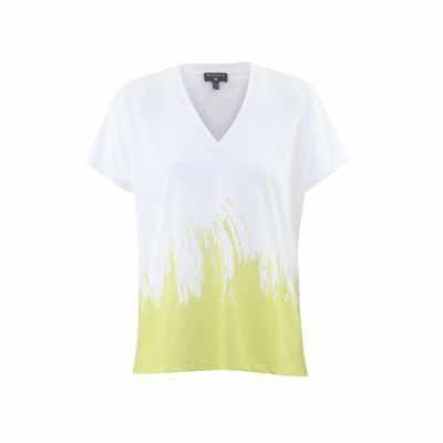 Marble V-neck T-shirt Painted Lime 5636 available from colmershill.com