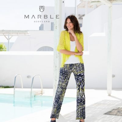 Marble soft jersey printed trousers with navy, lime and white available on colmershill.com