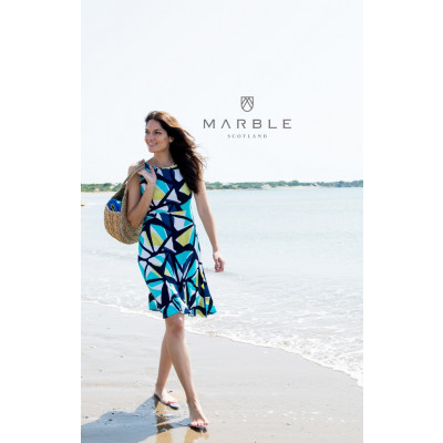 Marble Sleeveless 2-Way Dress 5769_163 in a bold geometric print in navy, white, turquoise and lime. Available on colmershill.com
