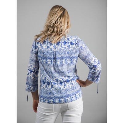 Tinta Deborah Top in a blue and white print available on colmershill.com