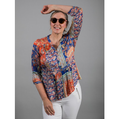 Tinta Lurdes Shirt Multicolour Paisley Print with gold thread running through the fabric available on colmershill.com