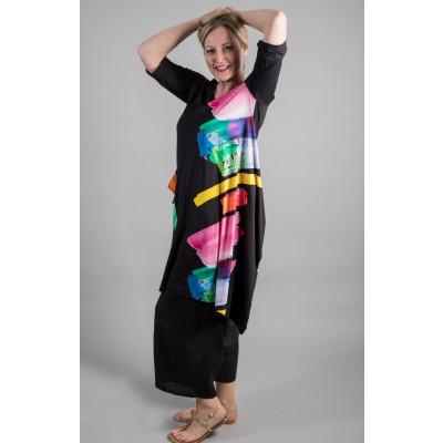 Ralston Tatsu Tunic Black with multicolour brush stroke print available at colmershill.com