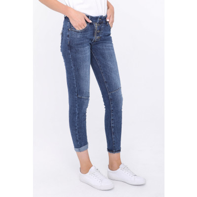 Melly Jeans 4 Button Zip Denim Blue available on colmershill.com