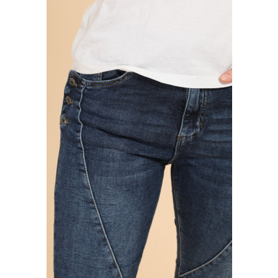 Melly & Co jeans in denim blue with side button details below the pockets, available from colmershill.com