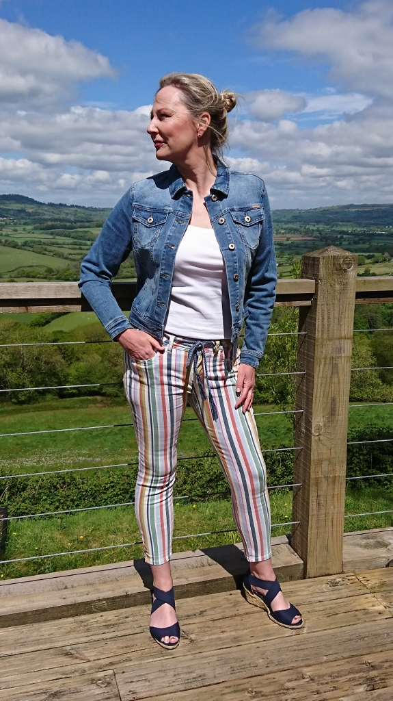 Red Button Jacki Jacket and Lulu Striped Trouser available on colmershill.com