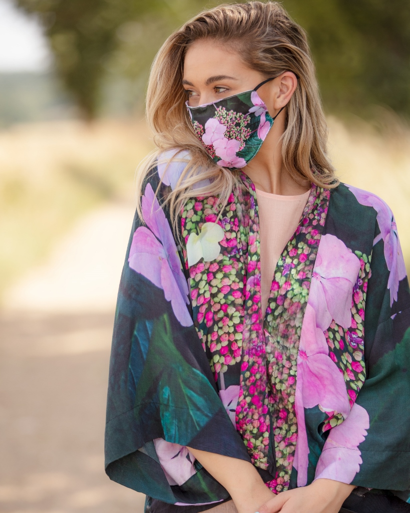 From My Mother's Garden Harmony Face Mask in the Hydrangea print to match the kimono available on colmershill.com