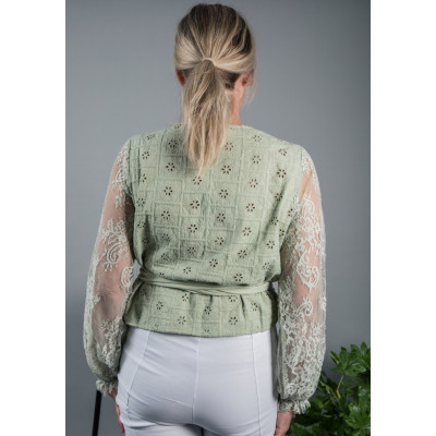 Bl^nk Emman Wrap Top Sage available on colmershill.com