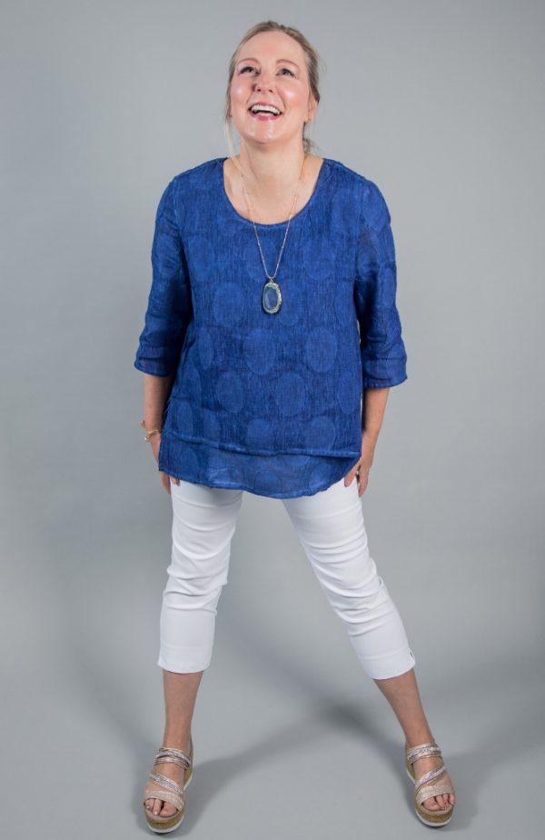 Vetono Boxy Layered Linen Top Sapphire Blue available on colmershill.com