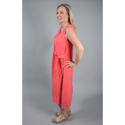 DECK Linen Midi Dress Coral available on colmershill.com