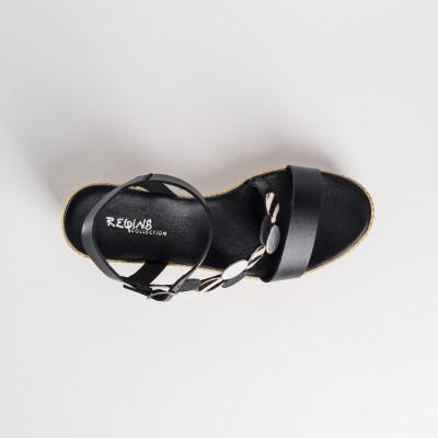Reqins Calvi Cuir Zebra platform sandals available on colmershill.com