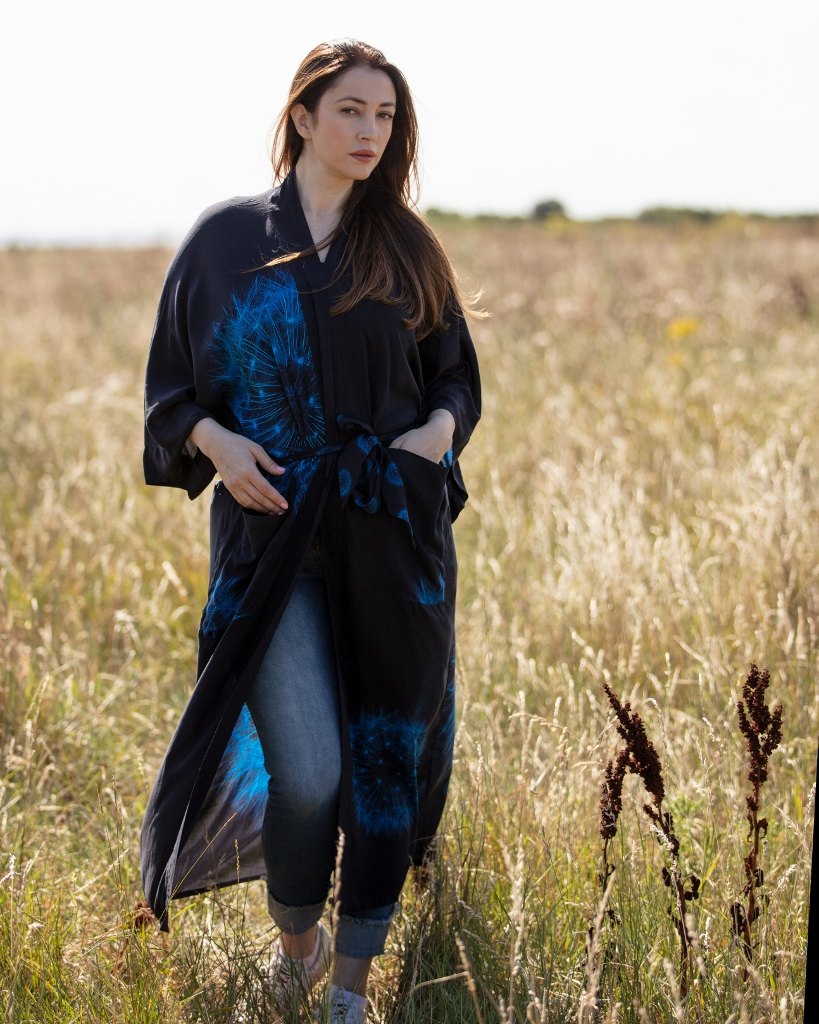 From My Mother's Garden Wishes Long Robe with a Dandelion Clock print in navy and turquoise available on colmershill.com