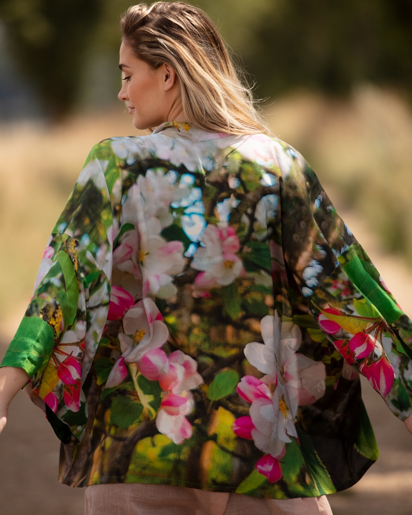 From My Mother's Garden Blossoming Kimono with its apple blossom print available on colmershill.com