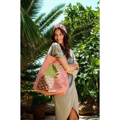 Powder Accessories sequin embellished pineapple handbag in coral available on colmershill.com