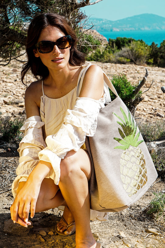 Powder Accessories sequin embellished pineapple handbag in stoneal available on colmershill.com