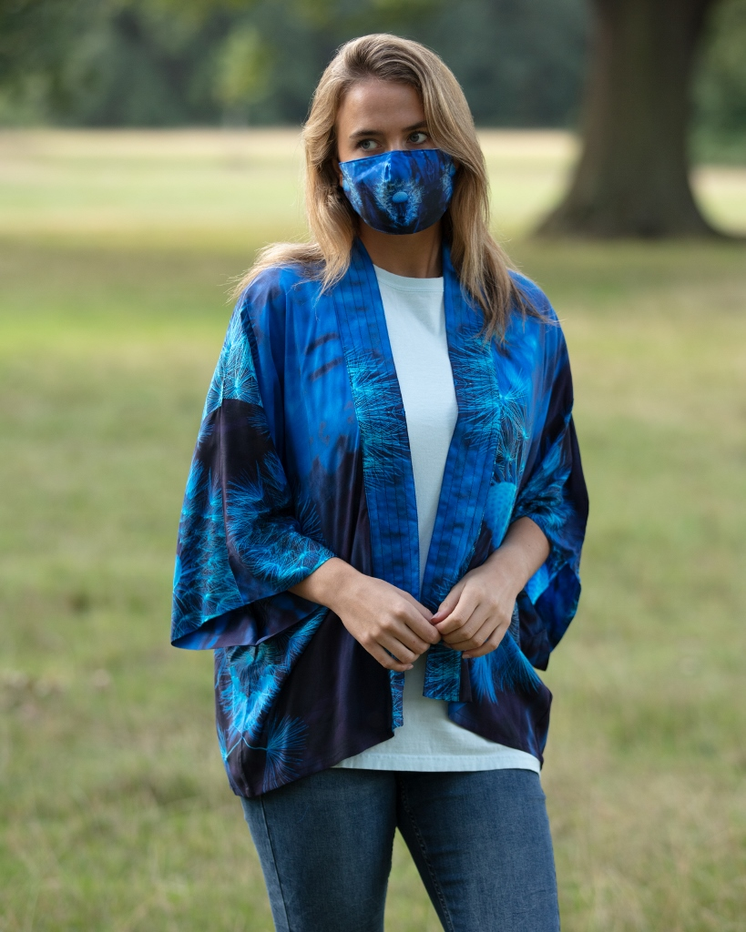 From My Mother's Garden Blown Wishes Face Mask in navy and turquoise available on colmershill.com