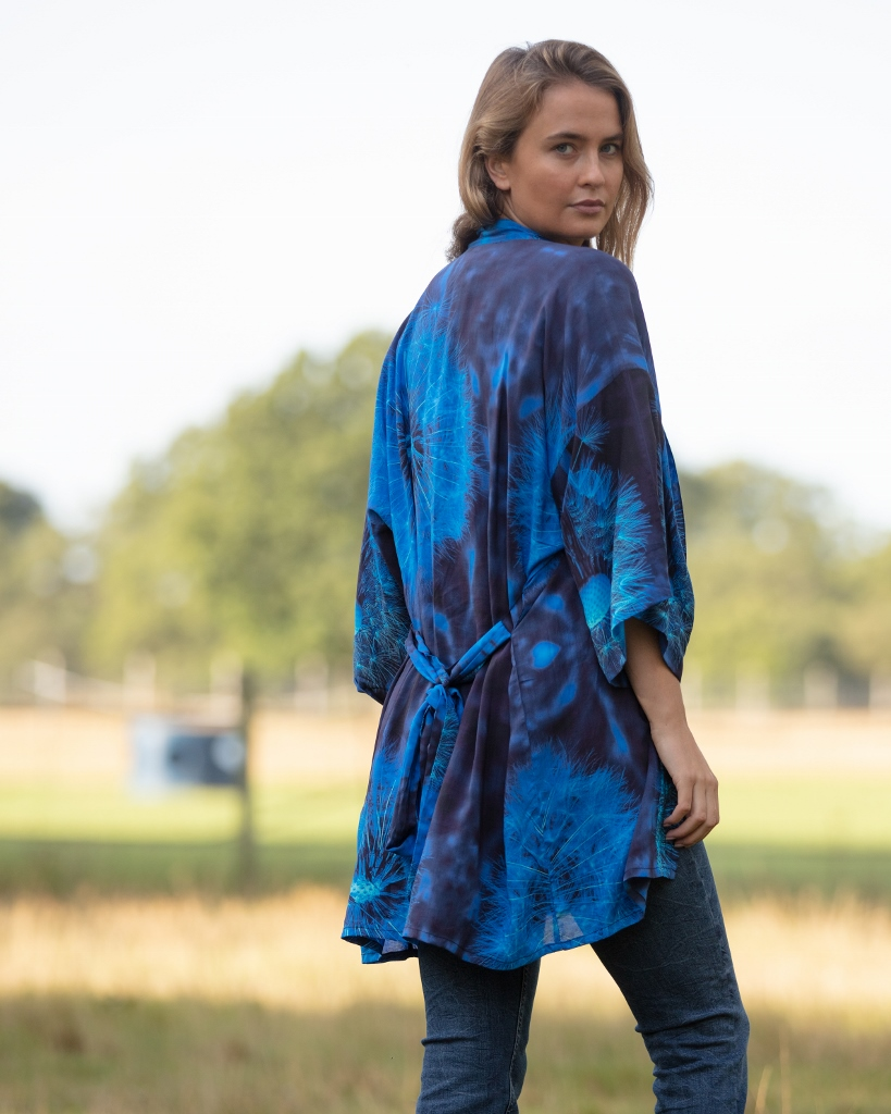 From My Mother's Garden Blown Wishes Mini Robe with a Dandelion Clock print in navy and turquoise available on colmershill.com
