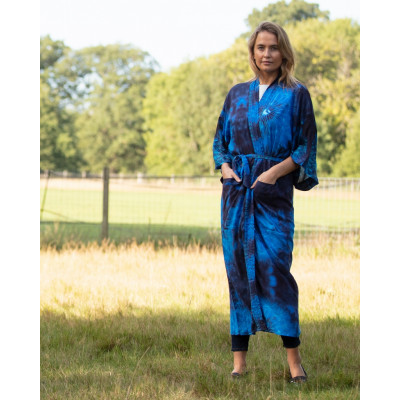 From My Mother's Garden Blown Wishes Long Robe with a Dandelion Clock print in navy and turquoise available on colmershill.com