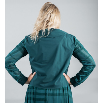 Elsewhere sporty tech zip top with mesh sleeves in petrol green available on colmershill.com