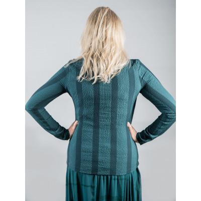 Elsewhere B-Yikama striped petrol green top is unconventional in its design with a draping front. Available from colmershill.com