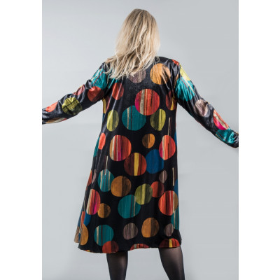 Out of Xile velvet coat 20AW20 with integral scarf in Eclipse colourful print available on colmershill.com