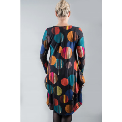 Out of Xile Hitch Hem Jersey Dress in the colourful Eclipse circles print 21AW20 available on colmershill.com