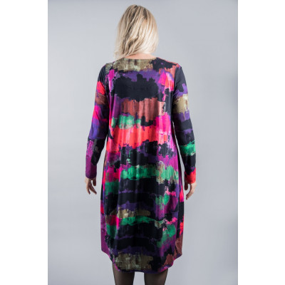 Ralston Bimse Dress in multicolour abstact bold print. The dress is tulip shaped and made of a high quality jersey which drapes beautifully. Available at colmershill.com