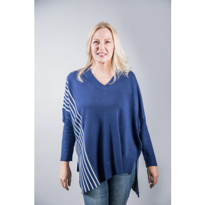 Foil Converging Tastes Sweater in Indigo Blue with striped side panels and asymmetric hemline, available at colmershill.com