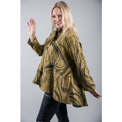 Ralston Wally Shirt Tunic in Olive Green with a swirl pattern made of 100% linen available on colmershill.com